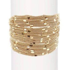 Savvy Cie wide multi chain 18k plated bracelet NWT